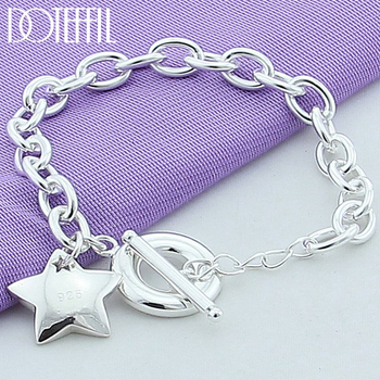 DOTEFFIL 925 Sterling silver Star TO buckle Charm Bracelets For Women Fashion Wedding engagement Fine Jewelry doteffil 925 sterling silver grapes more beads charm bracelets jewelry for fashion women wedding engagement gift