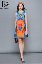 Baogarret Runway Designer Summer Dress Women's Sleeveless Tank Elegant angel Rose Floral Print Short Dress vestido