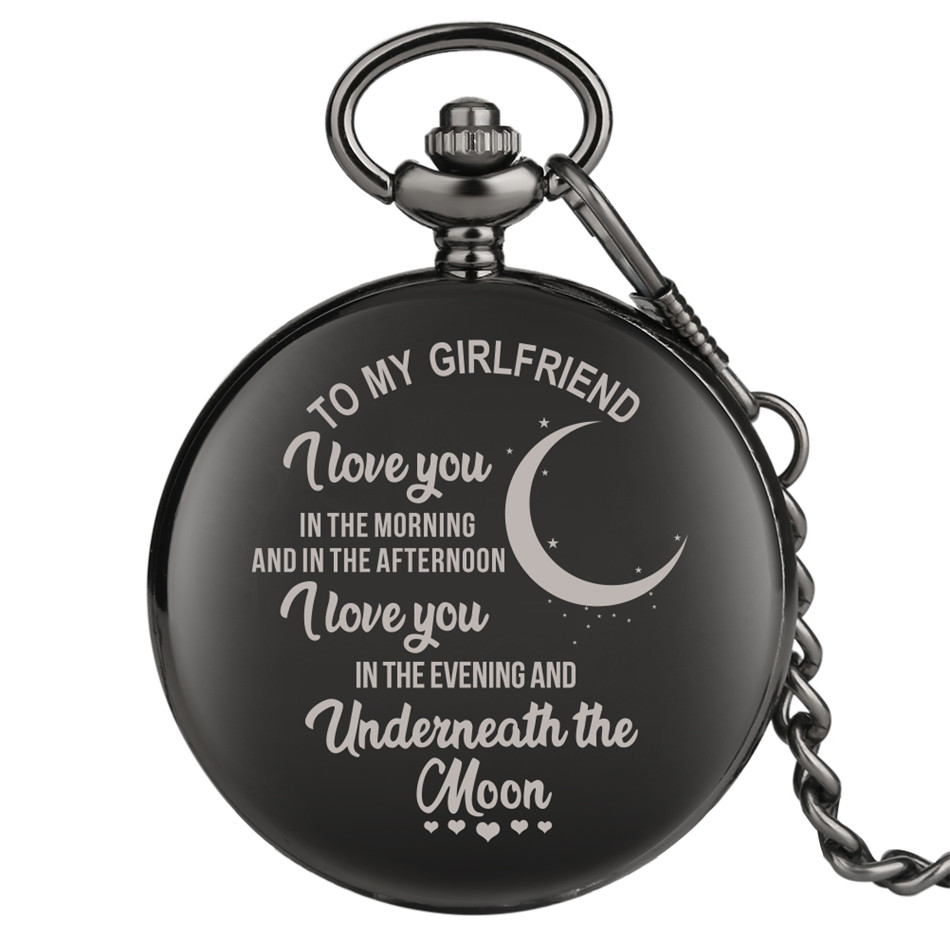 To My Girlfriend Design Custom Anniversary Gift Quartz Pocket Watch Smooth Black Full Hunter Pendant Watch Collection Present