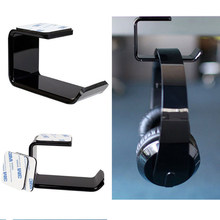 Sticker Acrylic Headphone Bracket Hanger Under Desk /Wall Mounted Headset Holder Hook Earphone Sticky Stander(China)
