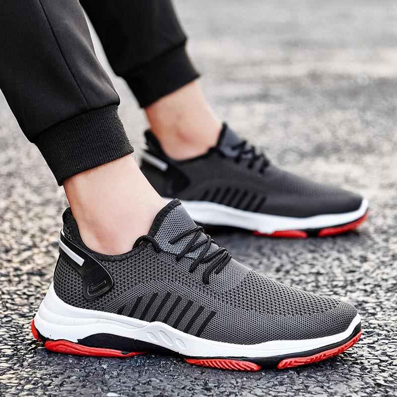 Yaz erkek ayakkabısı spor erkek koşu ayakkabıları spor ayakkabı erkek koşu ayakkabıları spor örgü eğitmenler gri tenis atletik yarış B-365