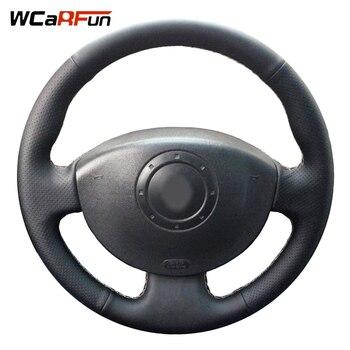 WCaRFun Genuine Leather Car Steering Wheel Cover for Renault Megane 2 2003 2004 2005 2008 Kangoo 2008-2012 Scenic 2 2003-2009