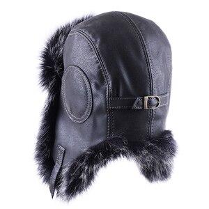 Image 3 - VINTAGE BOMBER หมวก Faux Fox ขนสัตว์นักบิน Aviator Trooper หนัง Earflap รัสเซีย Ushanka Men ฤดูหนาว WARM Plush Snow สกีหมวก
