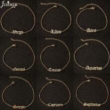 Jisensp Melhor Presente Velho Inglês Carta Do Zodíaco Charme Tornozeleira Vintage 12 Constelação Pulseira de Tornozelo para As Mulheres Da Moda Jóias