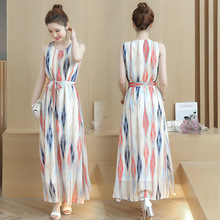 Spring and summer new style Striped Sleeveless Large Size Chiffon Dress Bohemian long dress beach