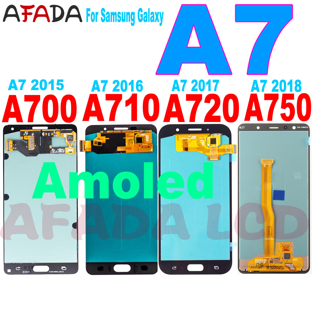 Super Amoled <font><b>A7</b></font> Lcd For <font><b>Samsung</b></font> <font><b>Galaxy</b></font> <font><b>A7</b></font> 2015 2016 2017 <font><b>2018</b></font> A700 A710 A720 A750 LCD <font><b>Display</b></font> Touch Screen Digitizer Replacement image
