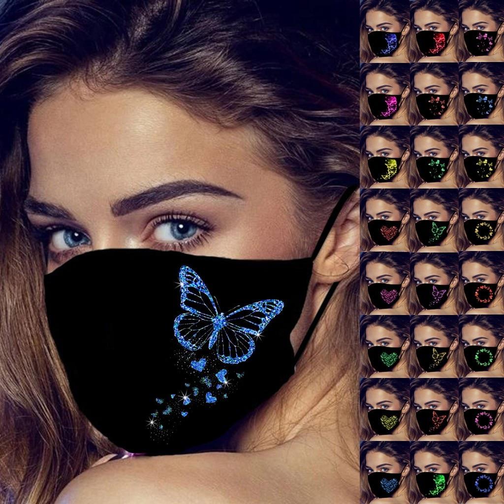 1pc adulte noir masque de visage drôle Luminescent papillon 3d imprimé visage bouche masques anti-poussière protection Mascarillas visage bouclier