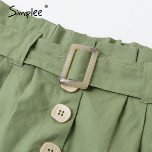 Image 5 - Simplee  Casual green women summer shorts Sash belt cotton female shorts Office work ladies buttons shorts streetwear bottoms