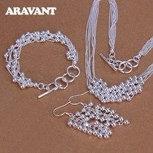 925 argent ensemble de bijoux lisse perle collier Bracelet longue goutte boucle d'oreille pour les femmes bijoux de mode