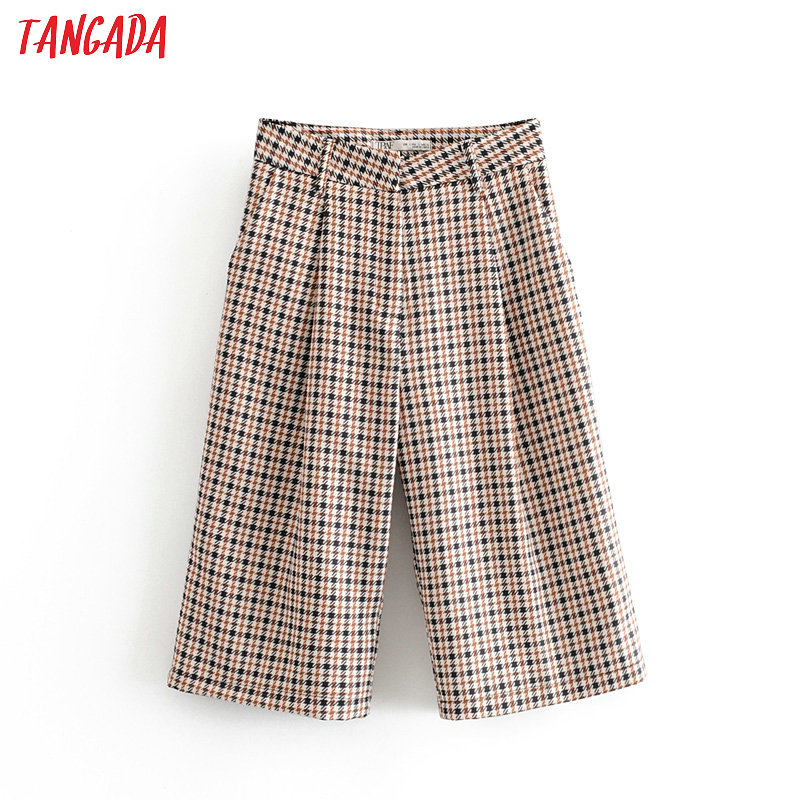 Tangada Fashion Women Vintage Plaid Pattern Pants Trousers Pockets Buttons 2019 Lady Knee Length Pants Pantalon 6A163