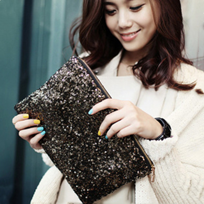 Womens Ladies Glitter Sparkling Sequins Handbag Evening Party Clutch Bag