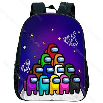 Children game among us backpack kids cute cartoon kindergarten schoolbag toddler bookbag anime knapsack preschool rucksack gift