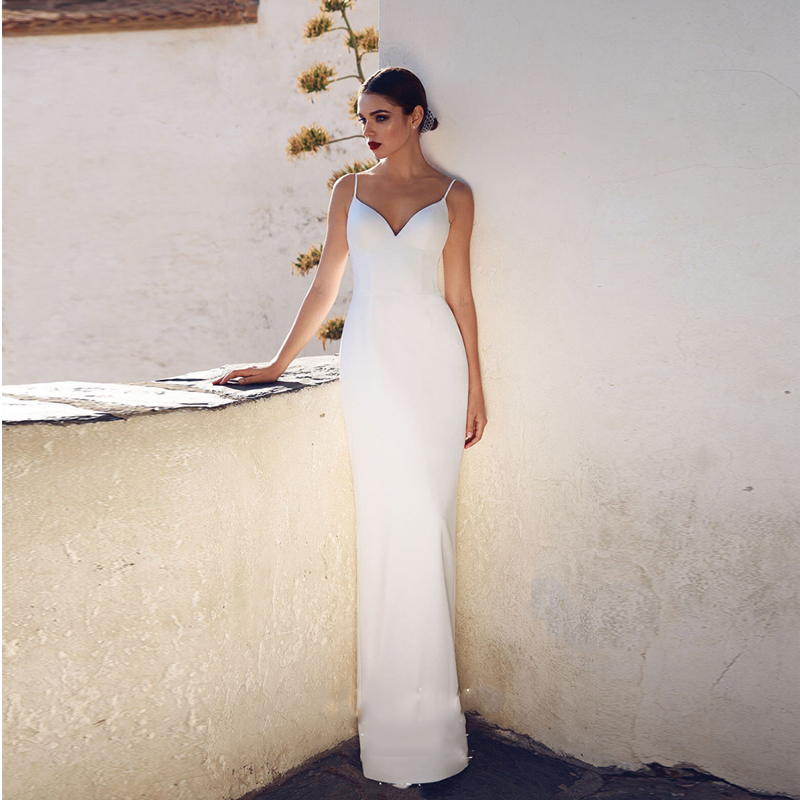 Verngo Shwath Wedding Dress Back Slit Wedding Gowns Vintage Spaghetti Straps Bride Dress Simple Vestido Longo Gelinlik in Wedding Dresses from Weddings Events
