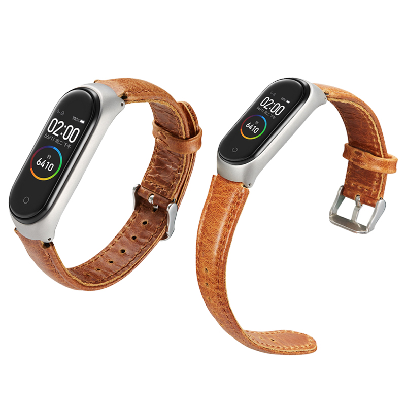 Leather MiBand Strap Accessories Bracelet Wrist <font><b>Band</b></font> For <font><b>Xiaomi</b></font> Miband <font><b>4</b></font> 3 Ventage Genuine Leather <font><b>Relogio</b></font> <font><b>Xiaomi</b></font> <font><b>Mi</b></font> <font><b>Band</b></font> 3 <font><b>4</b></font> image