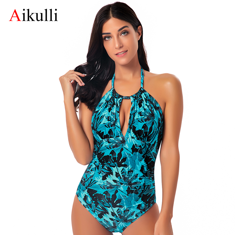 Aikulli One Piece Swimsuit <font><b>Bikini</b></font> Tummy Control Leaf Swimwear Women <font><b>Sexy</b></font> V <font><b>Neck</b></font> Backless Monokini Floral Halter Bathing Suits image