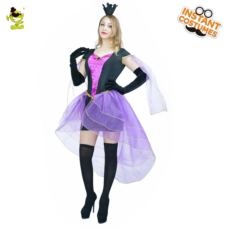 QLQ New <font><b>Halloween</b></font> <font><b>Sexy</b></font> <font><b>Women</b></font> Deluxe Purple <font><b>Witch</b></font> Costume With Veil Hemline Adult <font><b>Women</b></font> Queen Carnival Party Cosplay Fancy Dress image