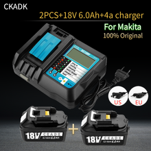 With 18v 4A Charger BL1860 Rechargeable Battery 18 V 6000mAh Lithium Ion for Makita 18v Battery BL1840 BL1850 BL1830 BL1860B