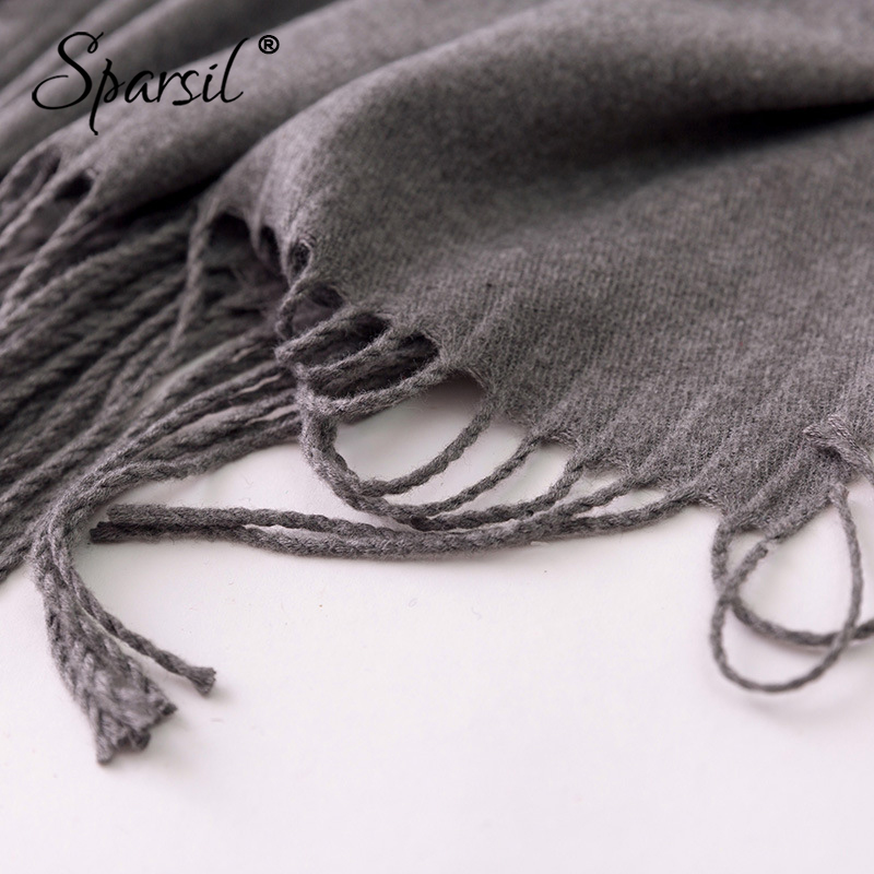 Image 5 - Sparsil 女性 2018 冬のカシミヤスカーフ暖かいタッセル花刺繍ショール休暇パシュミナ女性 70 × 200 ロングスカーフヒジャーブイスラム教のスカーフレディース スカーフ   -