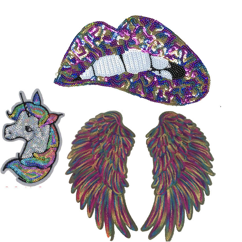 2019 New Colorful Angel wing with Lips Sequined Iron on Patches for Clothes Large Feather Mouth Sequins Patch Sewing DIY 1 Set