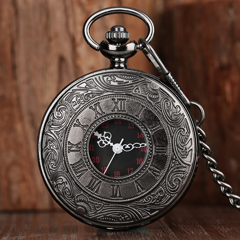 Antique Style Roman Numerals Pocket Watch Black Hollow Case Quartz Steampunk Vintage Pendant Necklace Gifts Chain For Men Women