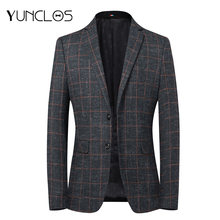 Мужской деловой пиджак yunclos вечерние в клетку формальный