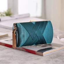 Womens bag new pleated satin woven metal tassel cylinder evening party dress hand holding diagonal pouch