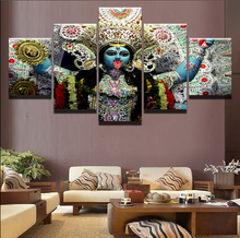 Modular Wall Art Picture Canvas HD Print Home Decor 5 Pieces Religious Hindu Goddess Kali Painting Poster Frame картины на стену