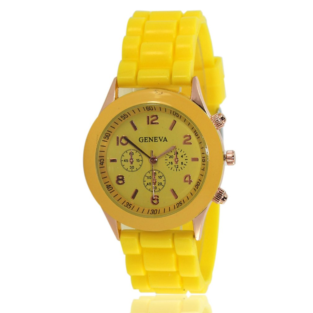Women's Geneva Silicone Quartz Watch Three Dial Jelly Color Couple Wristwatches Fashionable Popular Gift Children's Watches