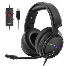 USB 7.1 Surround Sound Gaming Headset for PC Gamer Headphones Bass casque Game Headset for PS4/New Xbox One/Mac With Mic недорого
