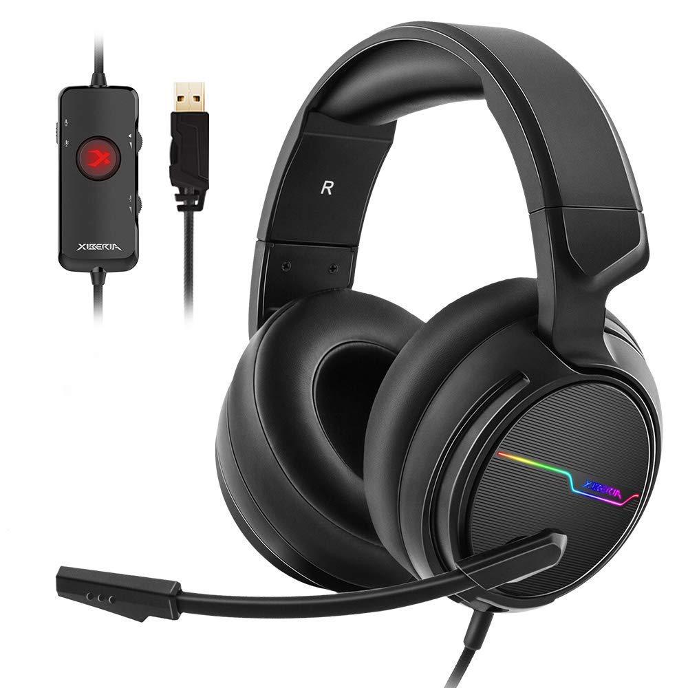 USB 7,1 Звуковая игровая гарнитура для ПК Игровые наушники бас шлем гарнитура геймер для PS4/Новый Xbox One/Mac с микрофоном