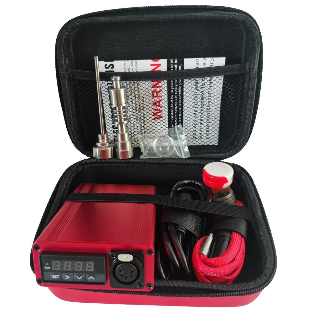 Best Christmas Gift Red Enail Dab Kit Electric Dab Nail Pen Rig Wax PID TC Box with 6 in 1 Hybrid Ti&Quartz Nail for Glass Bongs 1