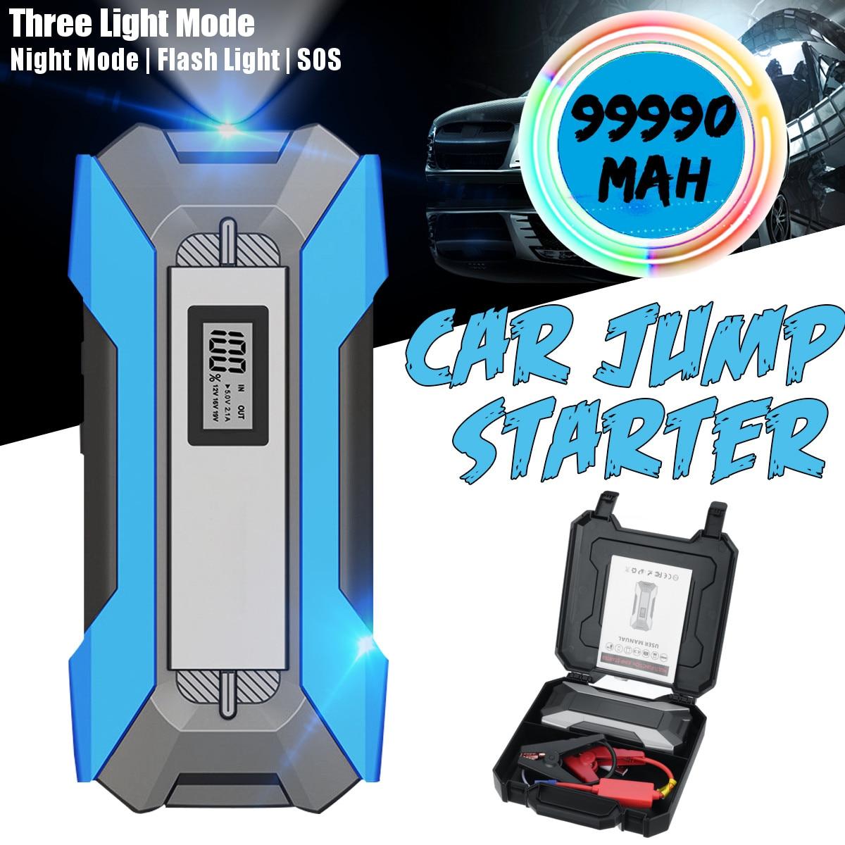 99990 мАч, 5 портов, автомобильный стартер, автомобильный аккумулятор, перемычка, 12 В, 3,0, быстрое зарядное устройство, 3 USB, 2 типа C, аварийный вне...