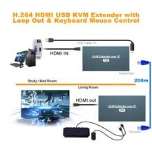 2021 최고의 200m 네트워크 USB KVM 익스텐더 IP 1080P 이더넷 HDMI KVM 익스텐더 120m HDMI 익스텐더 TX Cat5e Cat6 Cat7 케이블