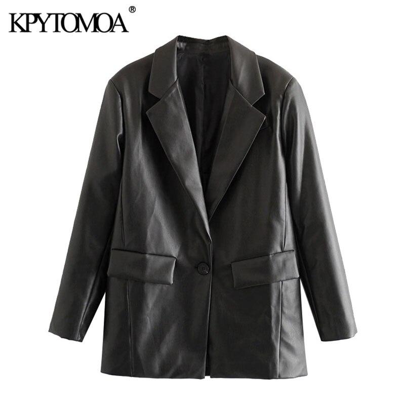 KPYTOMOA Women 2020 Fashion PU Faux Leather Loose Blazer Coat Vintage Pockets Long Sleeve Back Vents Female Outerwear Chic Tops