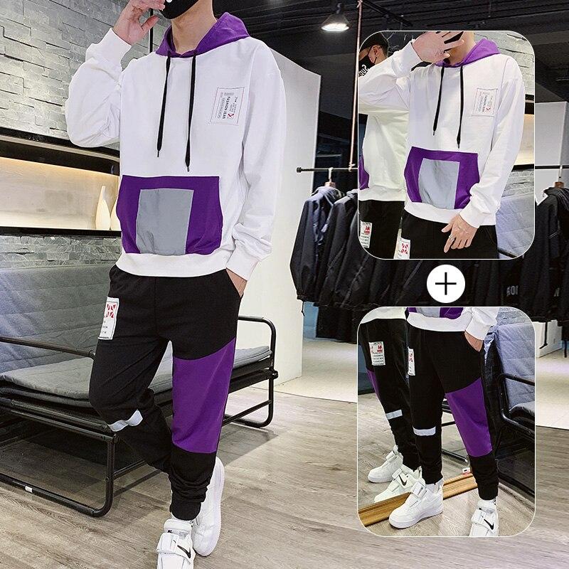 Purple Man Tracksuit Cotton For Spring Autumn Hooded Tracksuit For Men 2 Pieces Set Hoodies Sweatsuits Ropa De Hombre 2020 Hot