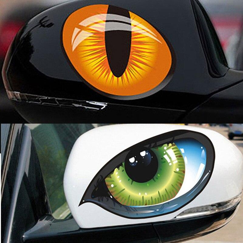 2Pcs 3D Funny Reflective Green Cat Eyes Car Stickers Truck Head Engine Rearview Mirror Window Door Decal Graphics