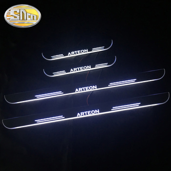 SNCN 4PCS Acrylic Moving LED Welcome Pedal Car Scuff Plate Pedal Door Sill Pathway Light For Volkswagen ARTEON 2017 2018 2019 sncn 4pcs acrylic moving led welcome pedal car scuff plate pedal door sill pathway light for skoda octavia a5 a7