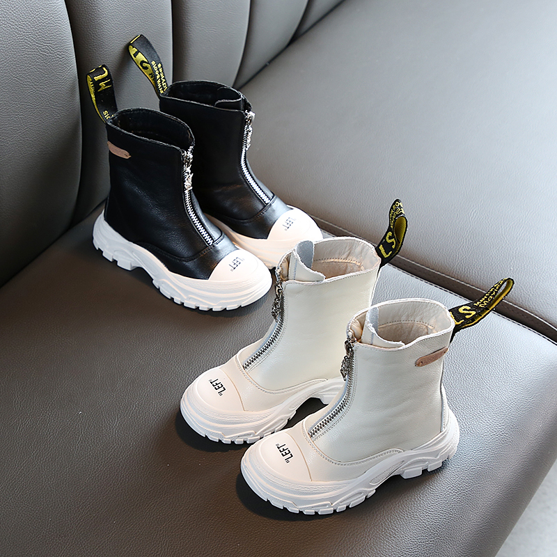 Children's Shoes 2020 Spring New Boys Girls Genuine Leather  Martin Boots Anti-kick Soft Bottom Wearable Boots Size 26 To 37
