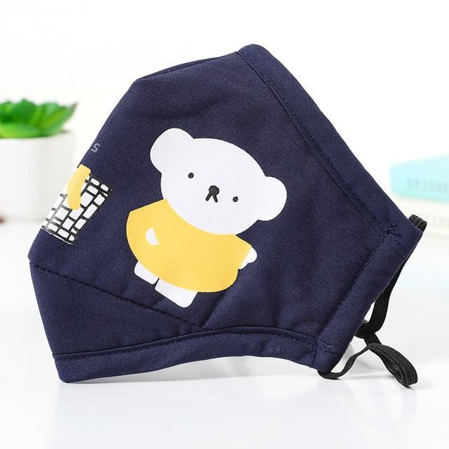 PM2.5 Cotton Kids Mouth Mask Cartoon Bear Anti Dust Face Masks Girls Mouth-Muffle Reusable Bacteria Proof Flu Mask For Children 2
