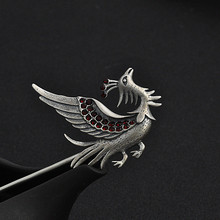 цена на 925 Sterling Silver Animal bird Phoenix Hair Stick For Women Antique Long Hair Decorated With Ethnic Style Hair Accessories