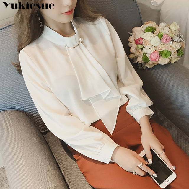 2020 summer long sleeve women's shirt blouse for women blusas womens tops and blouses chiffon shirts ladie's top plus size 2