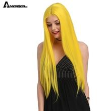 Anogol黒ロング絹のようなストレートフューチュラ繊維合成レースフロントかつらウィッグ中部熱が女性の日常使用