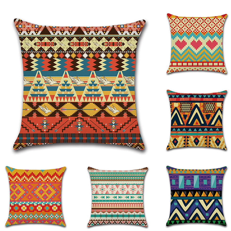 1 Pcs Retro Style Cushion Cover Decoration African Printed Pillow Case Pillowcase for Bedroom Sofa Car Seat Chair Decoration