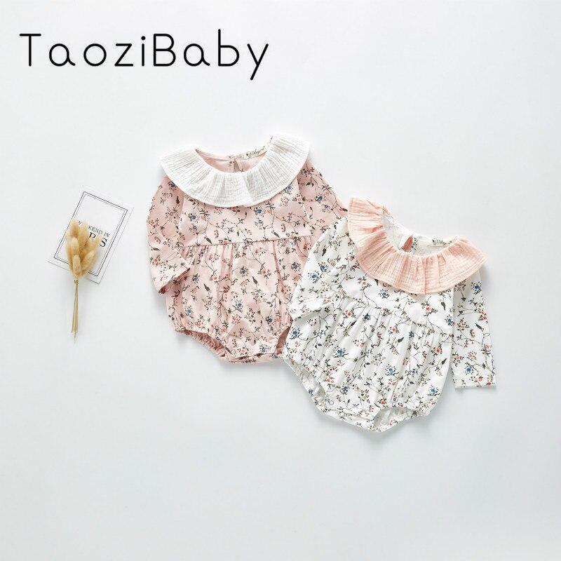Newborn Bodysuit 2020 Spring New Baby Clothes Girl Baby Little Flower Baby Collar One Piece Bodysuit