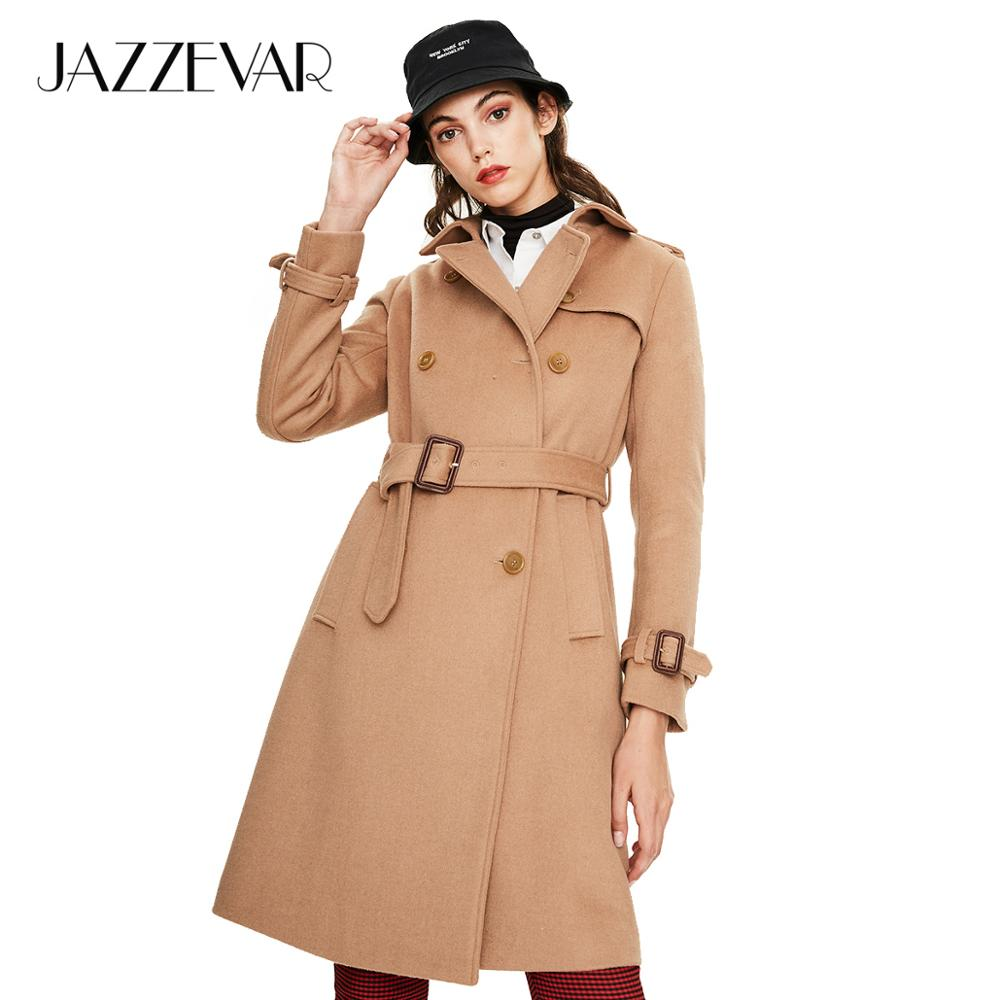 JAZZEVAR 2019 New arrival autumn khaki color women coat high quality double breasted slim fashion style woman clothes N9065(China)