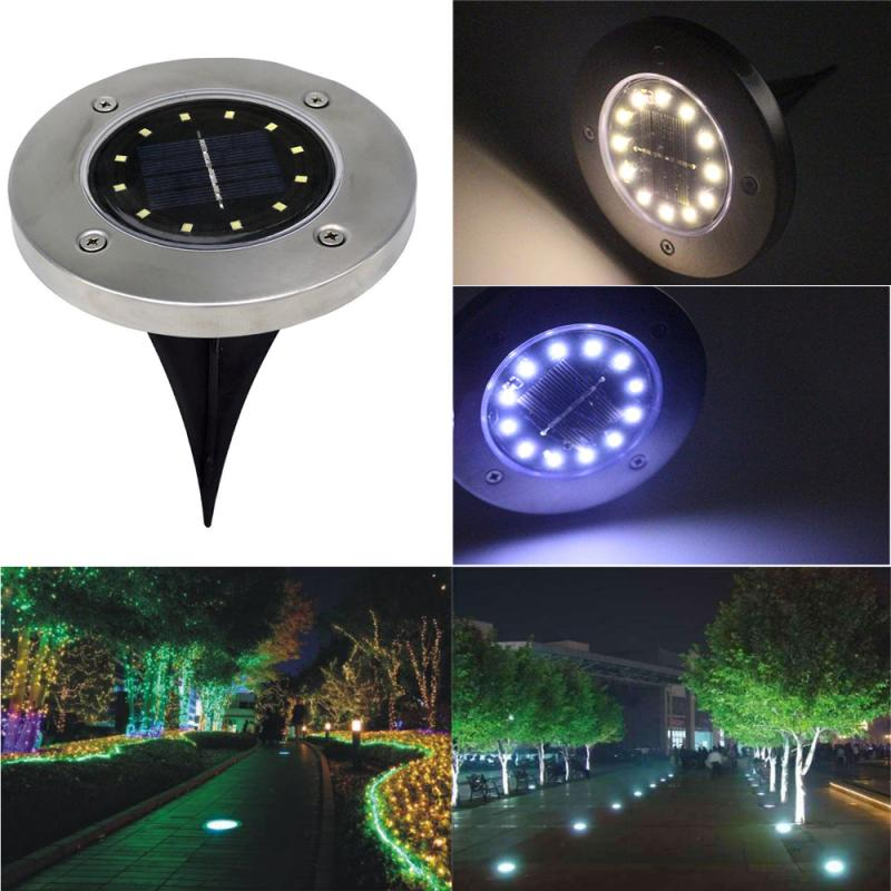 12-LED Solar Power Buried Light Under Ground Lamp Outdoor Path Way Garden Decking White Warm White Light Lawn Lamp Solar Light