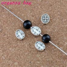 200pcs Antique Silver Saint Benedict Cross crucifix oval spacers beads handmade DIY Jewelry 8x10mm D-0502