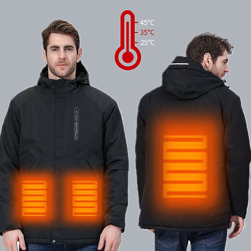 Dr.Qiiwi Heated Jacket Coat USB Heating Outdoor Waterproof Windbreaker for Hiking Camping Trekking Climbing Coat