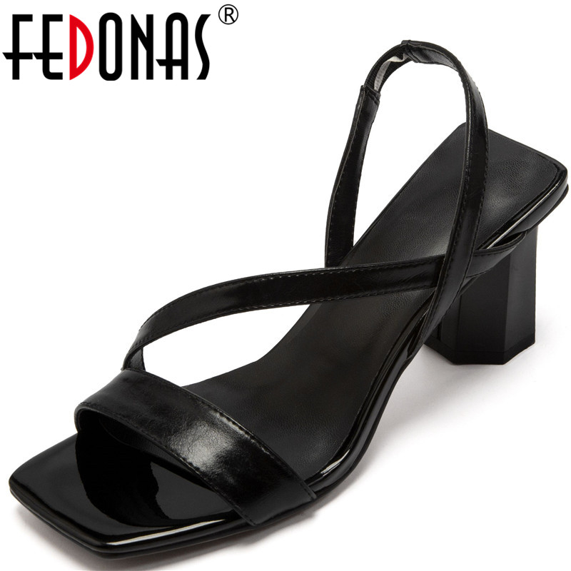 FEDONAS   Women Sandals Cow Leather Thick Heel Lace Up Slippers High Heeled Working Shoes Spring Summer Elegant Shoes Woman