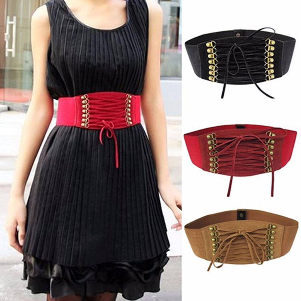 Women Fashion Wide Elastic Stretch Belt Tassel Lace Up Corset Waist Waistband